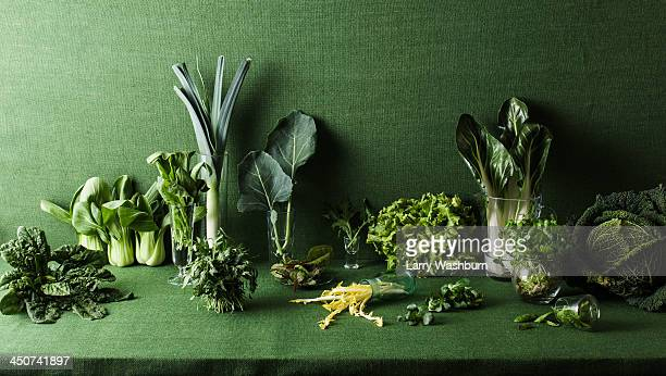 assorted green vegetables on green table - still life foto e immagini stock