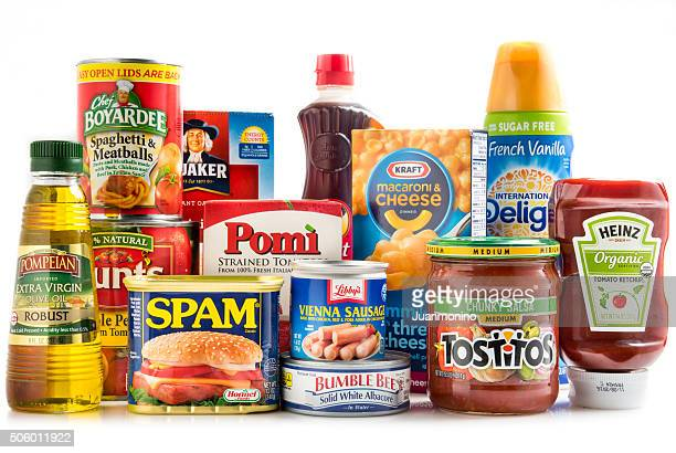 assorted groceries - canned food stock pictures, royalty-free photos & images