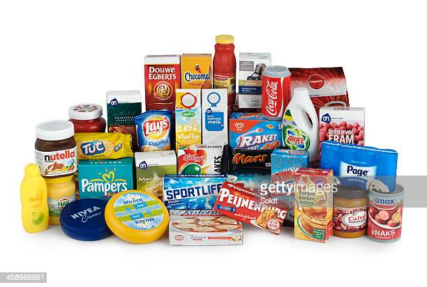 assorted grocery products | minipackages - milk carton stock photos and pictures