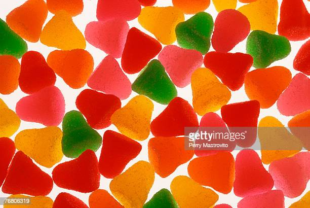 assorted gummy candies - gum drop stock photos and pictures