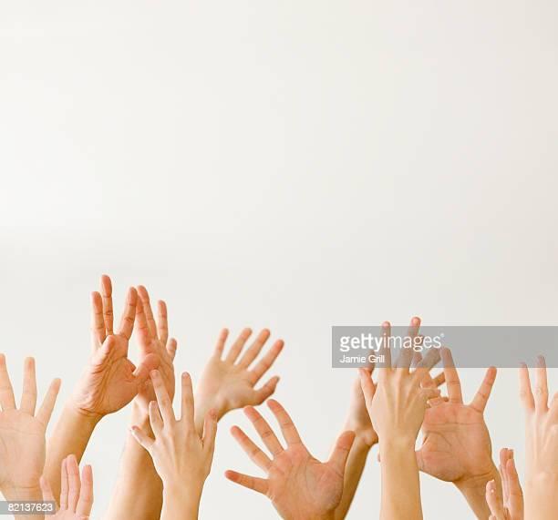 assorted hands reaching up - mittelgroße personengruppe stock-fotos und bilder