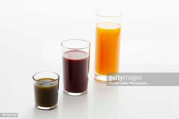 Assorted healthy juices