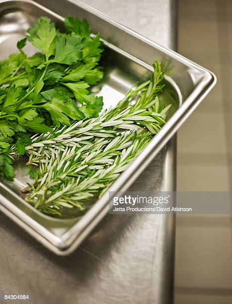 assorted herbs in tray - flat leaf parsley stock pictures, royalty-free photos & images