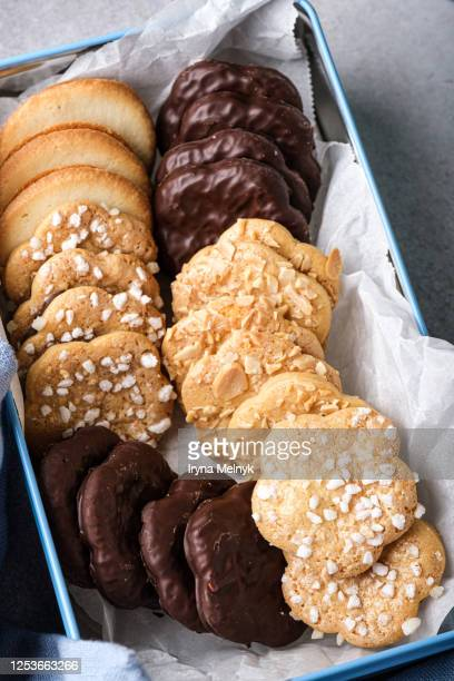 assorted homemade cookies in metal box. with chocolate, almond and cream. - gluten free bread stock pictures, royalty-free photos & images