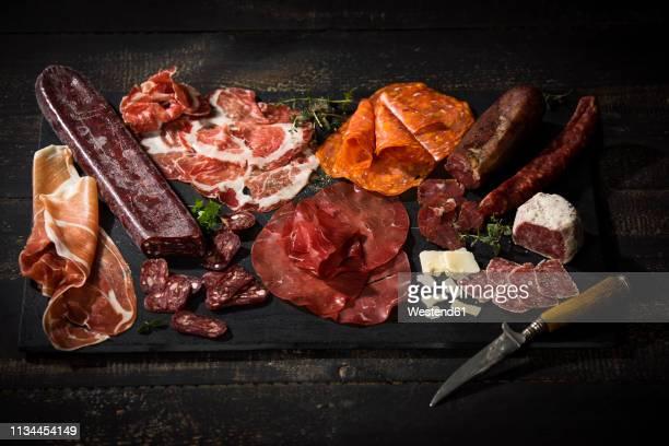 assorted italian cold cuts - carne de cervo - fotografias e filmes do acervo