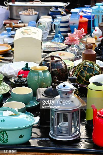 Assorted kitchen products at antique stall