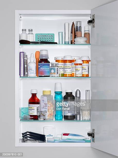 Assorted medications and grooming products in medicine cabinet