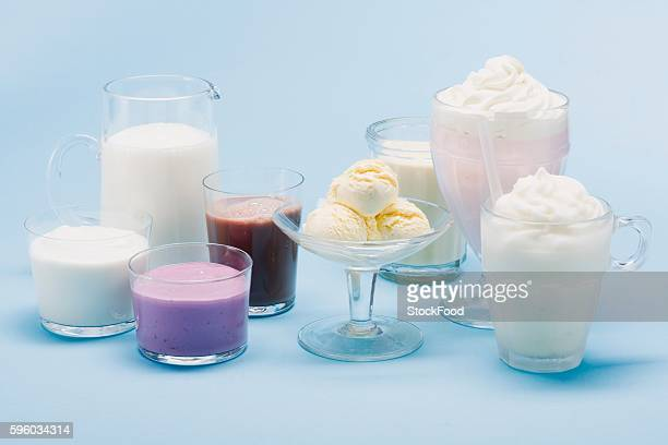 Assorted milkshakes, smoothies, ice cream and milk