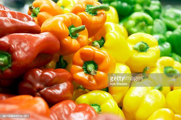 Assorted multicolored paprika, close-up