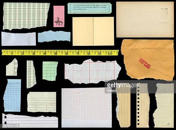assorted paper elements - lined paper stock pictures, royalty-free photos & images