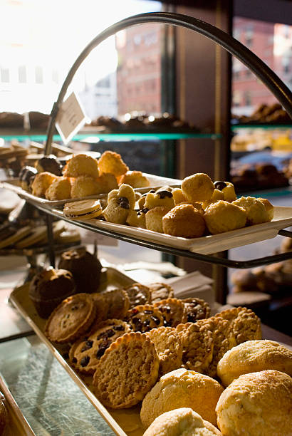 Assorted pastries on display in a cafe