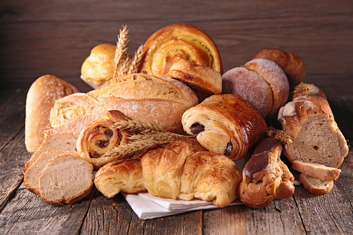 assorted pastry and bread 510222476