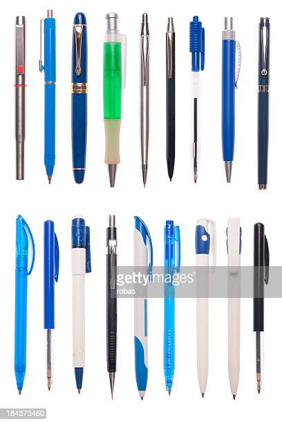 Assorted pens isolated on white