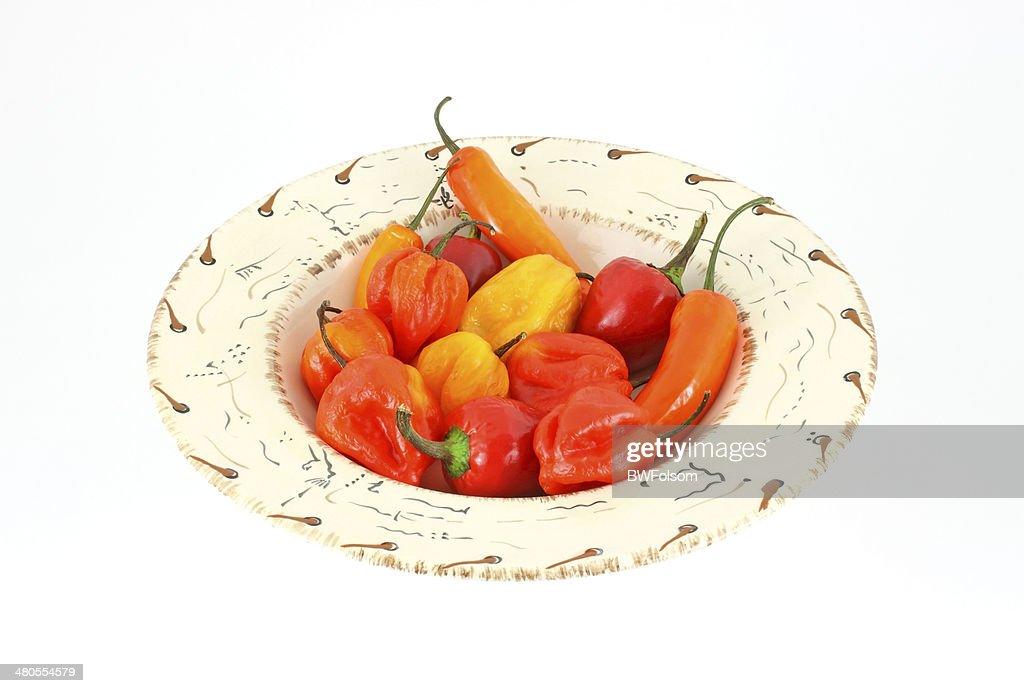 Variado, pimientos en bowl : Foto de stock