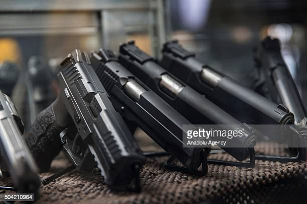Assorted pistols on display that customers can rent to use on the range at Blue Ridge Arsenal in Chantilly Va USA on January 9 2015
