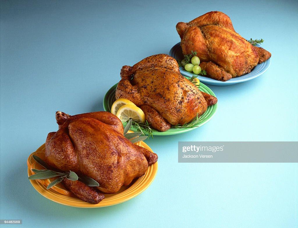 Assorted roasted turkeys : Stock Photo
