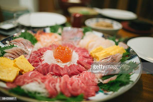 assorted sashimi raw fish plate at home, japan - trachurus stock pictures, royalty-free photos & images