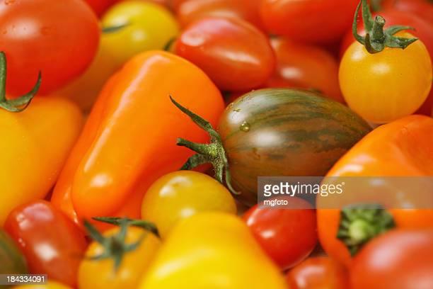 Verschiedene kleine Tomaten und Paprika