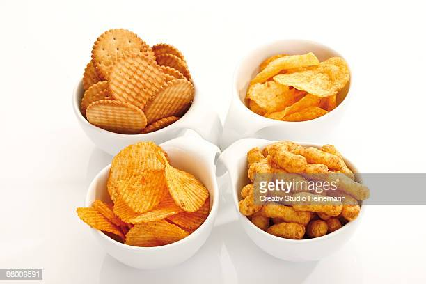 Assorted snacks in bowls, elevated view