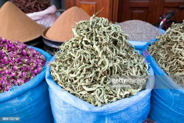 Assorted spice and dried herb stand, Marrakesh Medina, Morocco