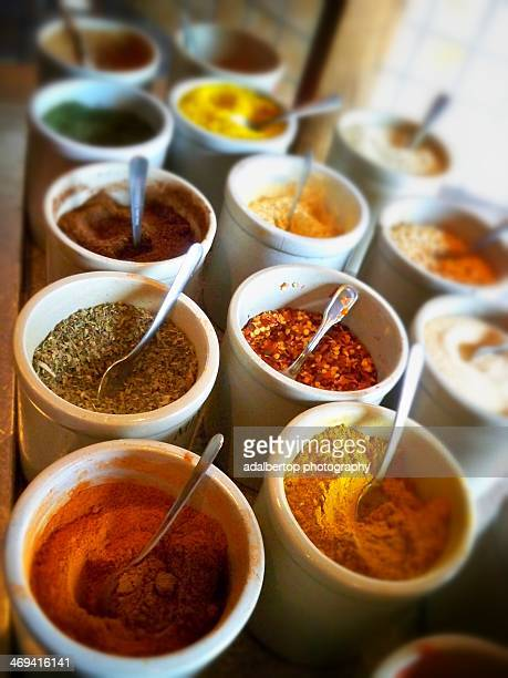 Assorted spices in an Asian restaurant