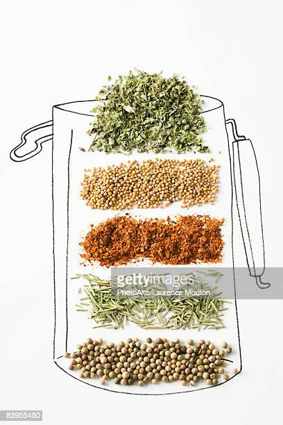 Assorted spices in drawing of canister