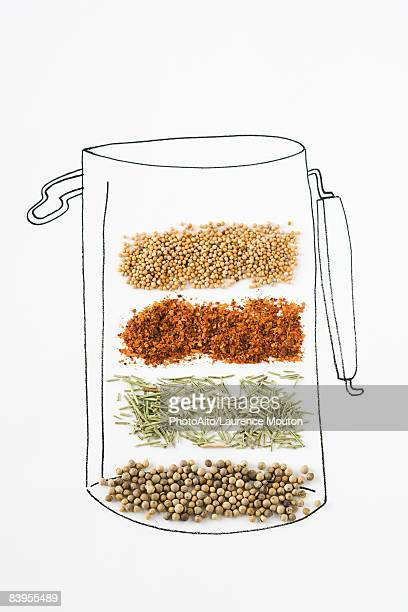 Assorted spices on drawing of canister