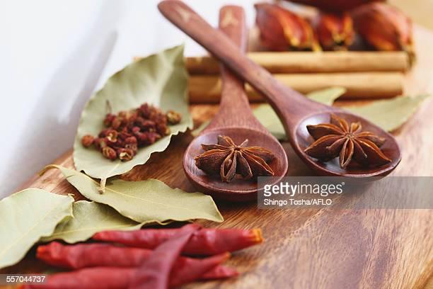 assorted spices - スターアニス ストックフォトと画像