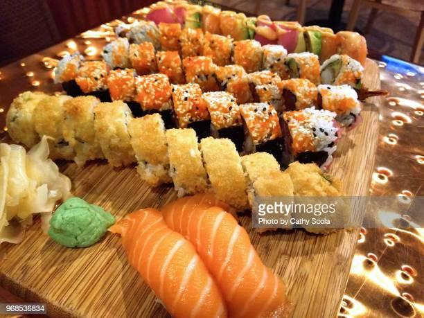 assorted sushi - wasabi stock pictures, royalty-free photos & images