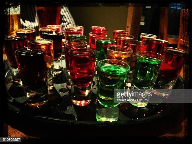 Assorted tequila shots in bar