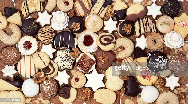 Assortment christmas cookies studio shot horizontal from above