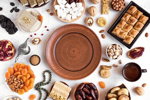 Assortment of Arabic, Turkish sweets 1142424349