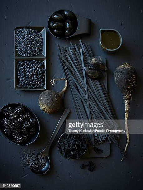 assortment of black foods