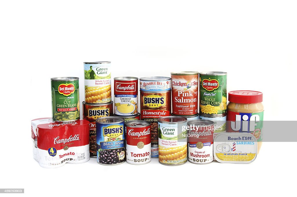 Assortment of canned foods : Stock Photo