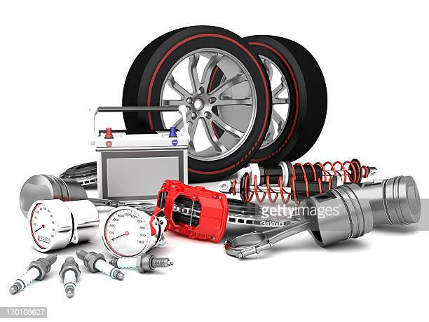 assortment of car parts on white surface - piston stock pictures, royalty-free photos & images