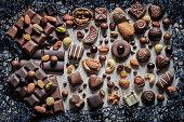 assortment chocolate candies bonbon chocolate bars