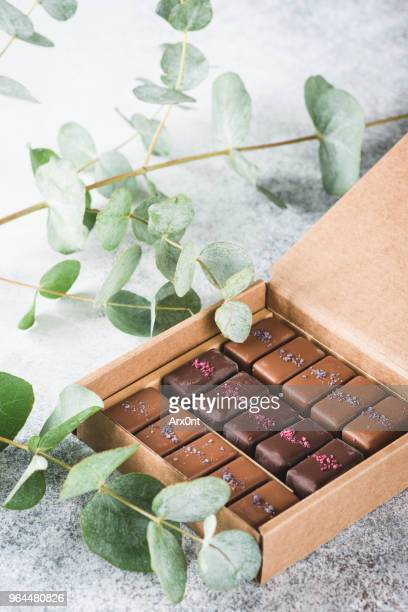 Assortment of chocolates and pralines in carton box
