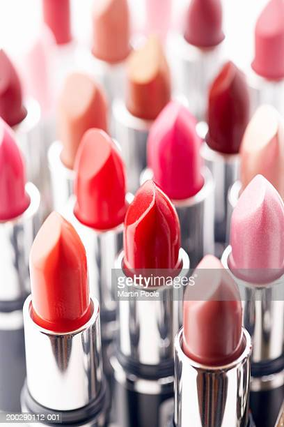 Assortment of coloured lipsticks, close-up
