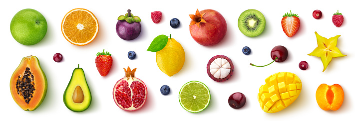 Assortment of different fruits and berries, flat lay, top view 1145283727