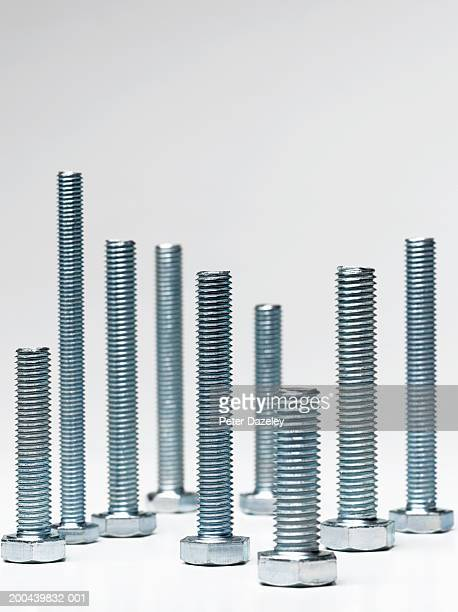 Assortment of different sized bolts standing on end, close-up