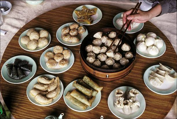 Assortment of Dim Sum in a Journey to the Heart of the Imperial China in Beijing, China in Octorber, 1992.