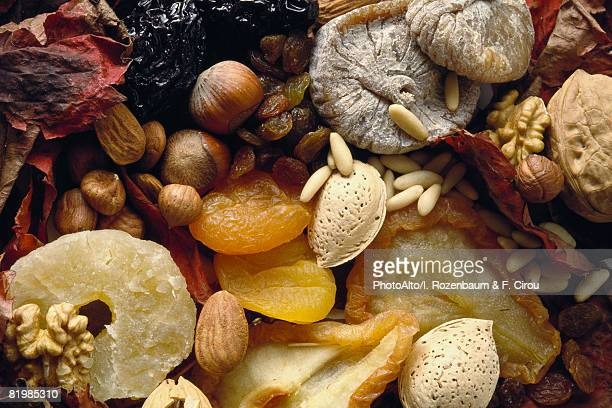 Assortment of dried fruits and nuts, full frame