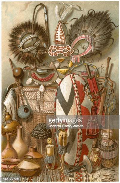 Assortment of East African Weapons and Equipment Africa Illustration 1885