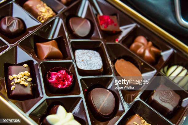 assortment of fine chocolate candies. top view - chocolate pieces stock photos and pictures