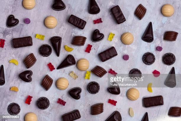Assortment of fine chocolate candies, white, dark, and milk chocolate