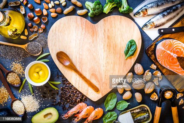 assortment of food rich in omega-3 with copy space - nutritionist stock pictures, royalty-free photos & images