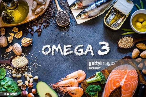 assortment of food rich in omega-3 with copy space - flax seed stock pictures, royalty-free photos & images