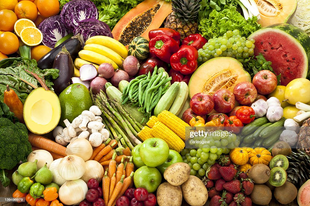 Assortment of Fruits and Vegetables Background. : Stockfoto