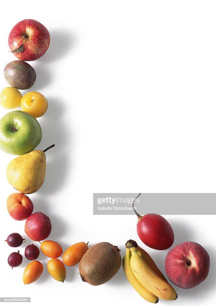 Assortment  of fruits, white background : Stockfoto