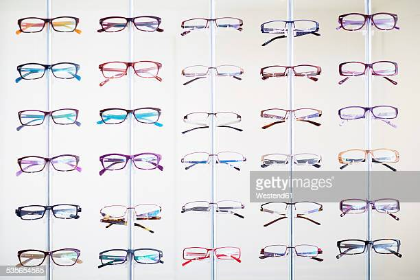 Assortment of glasses in an optician shop